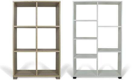 Libreria in legno melaminico con pannelli di spessore 15 mm e con piedini in plastica disponibili in 2 colori