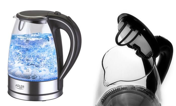 Schnurloser Wasserkocher im Glas-Edelstahl-Design mit LED-Beleuchtung (71% sparen*)