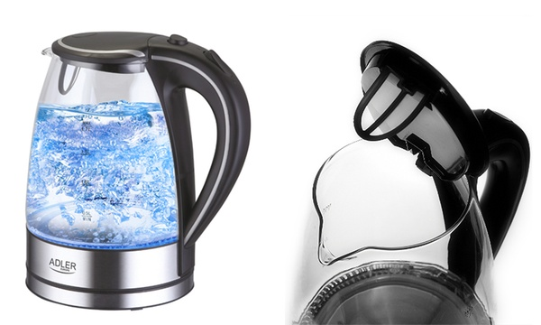 Schnurloser Wasserkocher im Glas Edelstahl Design mit LED