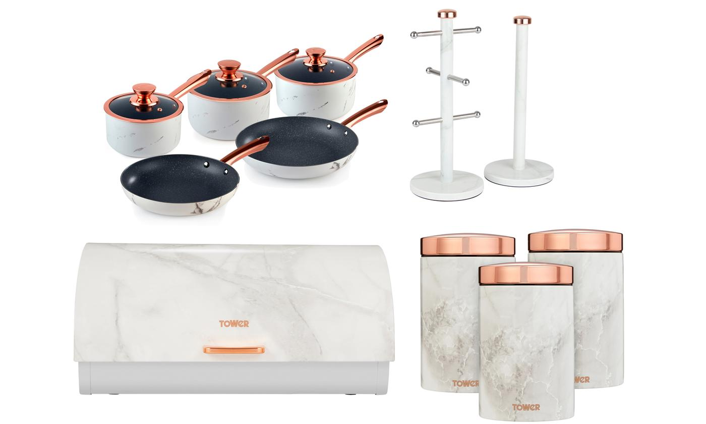 Tower Kitchen Marble Six-Piece Storage and Five-Piece Pan Sets With Free Delivery