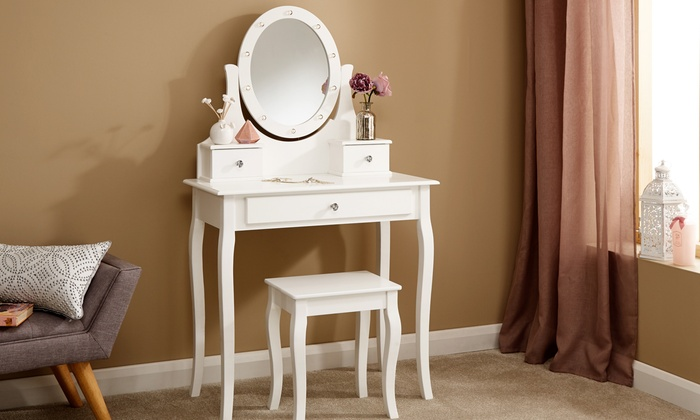 LED Mirror Dressing Table and Stool