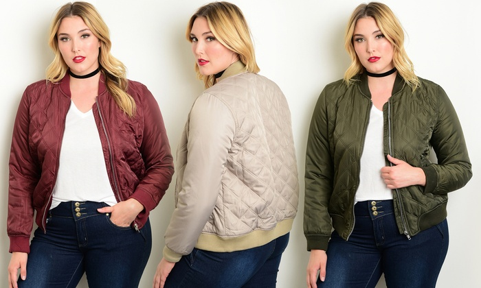 Women's Plus-Size Quilted Bomber Jackets | Groupon