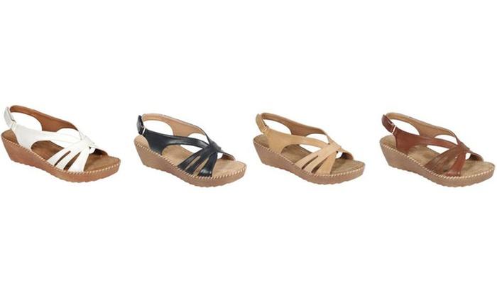 Mata Women's Low-Heel Wedge Buckle Sandals (Sizes 7 & 10)