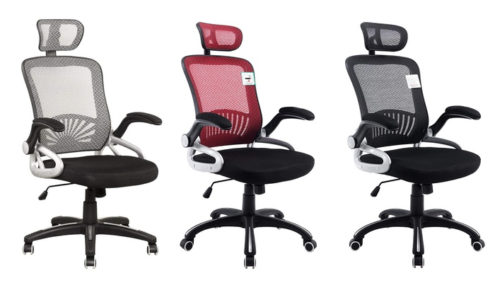 Mesh Fabric Swivel Office Chair with Folding Armrests