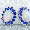 Peermont 2.50 CTW Opal and Sapphire Flower Stud Earrings