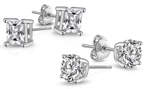 Boucles d'oreilles en argent sterling cubique Philip Jones