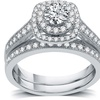 All My Love Certified 1 CTTW Diamond Halo Bridal Set in 14K White Gold