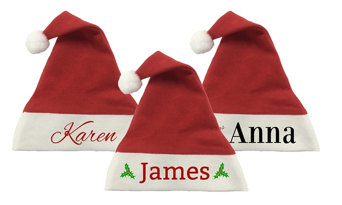 204f5a7cd Personalised Christmas Santa Hat: One ($8.99), Two ($17.99) or Three  ($23.99) (Don't Pay up to $59.97)