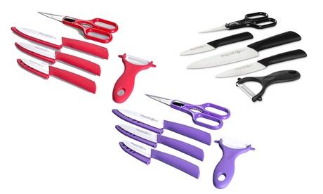 Set composto da 3 coltelli e pelapatate in ceramica con un paio di forbici Quttin Supreme disponibile in 3 colori