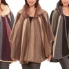 Open-Front One-Size Fur Sweater Poncho with Hood