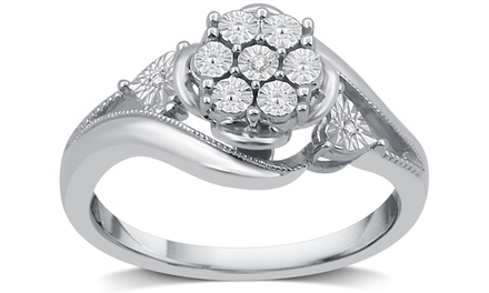 Diamond Accent Flower Cluster Ring in Sterling Silver by DeCarat
