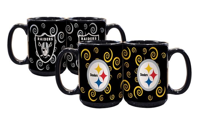 2-Pack of NFL Black Swirl Mugs: 2-Pack of NFL Black Swirl Mugs