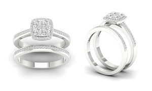 1/4 CTTW Diamond Cushion Bridal Set in Sterling Silver by De Couer