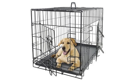Collapsible Metal Pet Crate with Removable Tray