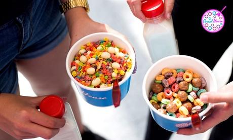 Menú Take Away para 1, 2 o 4 persona con bol de cereales, topping y bebida de leche desde 2,50 € en Cereal House