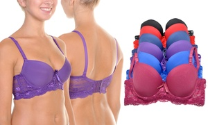 f0473b90f970b Shop Groupon Angelina Wired Demi-Cup Bra with Wide Lace Wings (6-Pack)