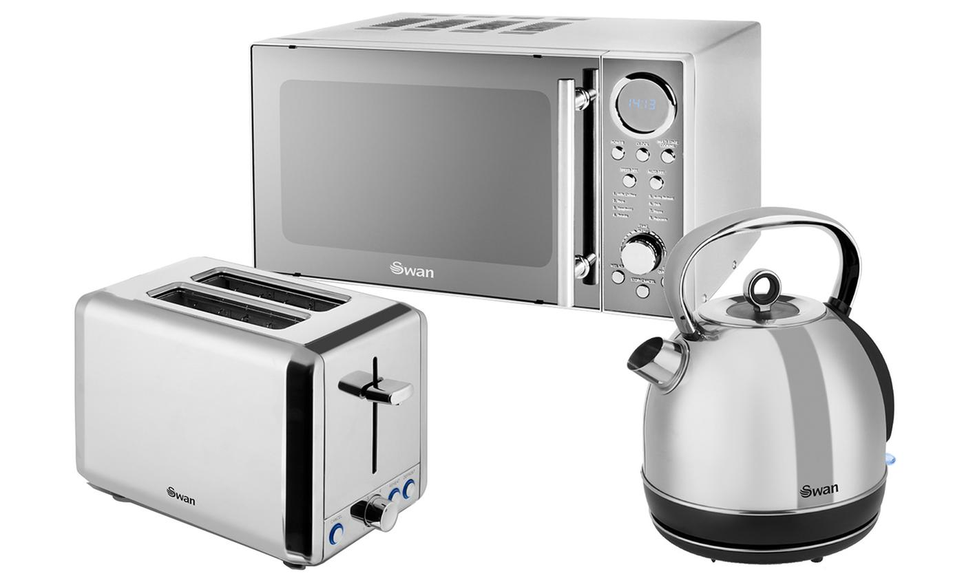 Swan Stainless Steel 20L Microwave, Dome Kettle and Two-Slice Toaster Set
