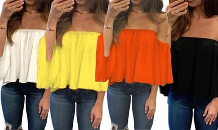 1 o 2 top da donna a spalle scoperte disponibili in 4 colori e 3 taglie