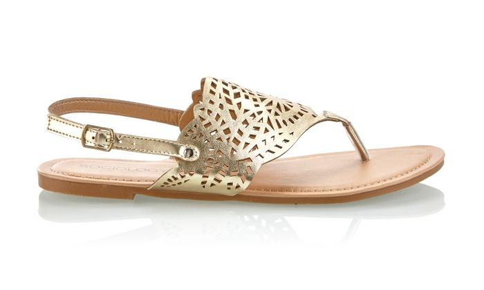 Sociology Women's Laser-Cut Thong Sandals: Sociology Women's Laser-Cut Thong Sandals   Groupon Exclusive (Size 8)