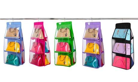 Fino a 3 organizer per contenere fino a 12 borse con gancio disponibile in 5 colori