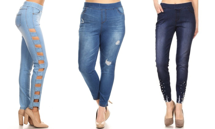 273965a5c382b JVINI Women's Skinny Side Cut-Out, Pearl, or Distressed Denim Jeggings
