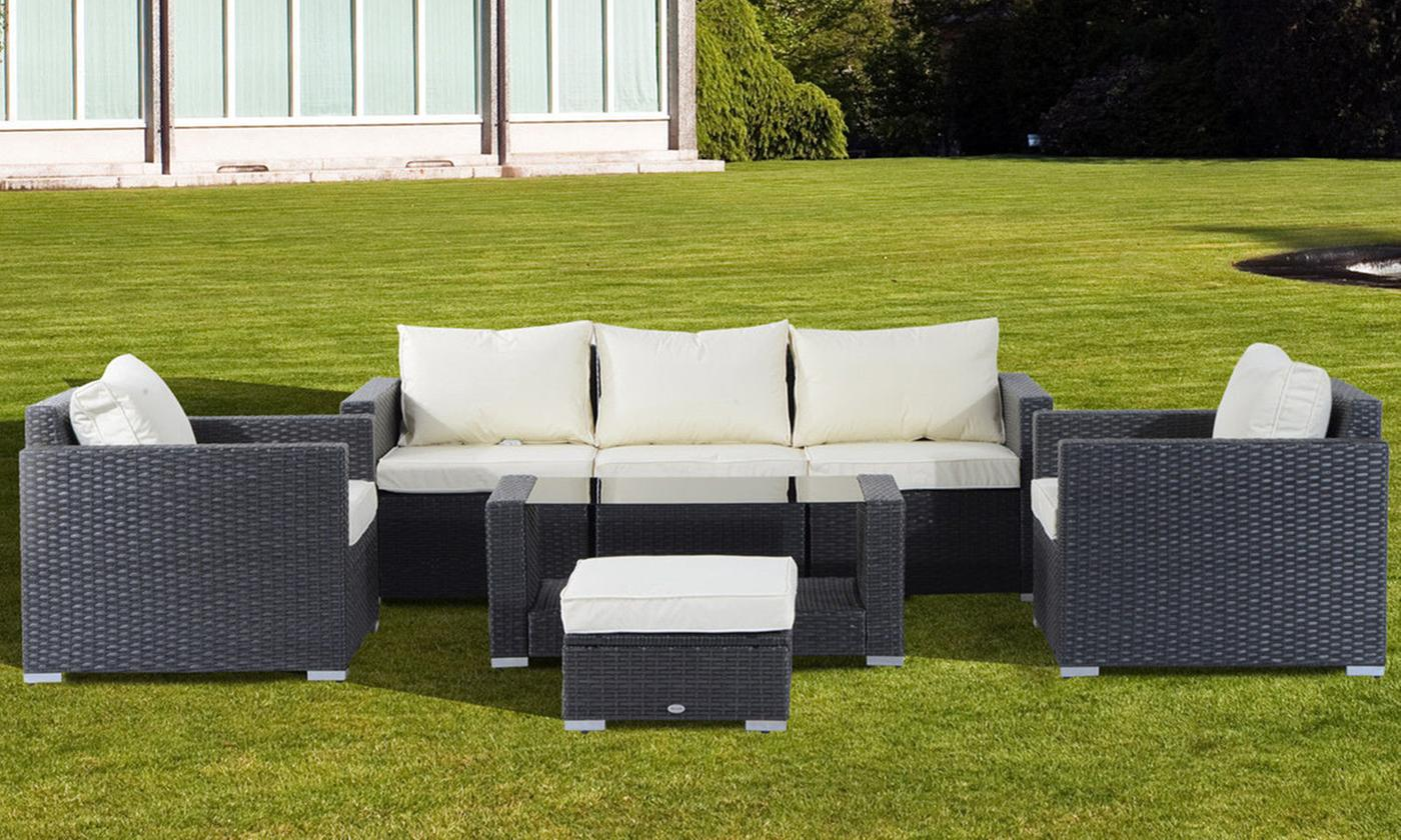 Outsunny Seven-Piece Rattan-Effect Outdoor Sofa Set (£529.99)
