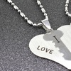 Solid Stainless Steel 'I Love You' Necklace Set by Pink Box (2-Pack)