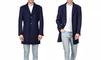 Braveman Men's Single or Double Breasted Wool Blend Coats (Multi Color)