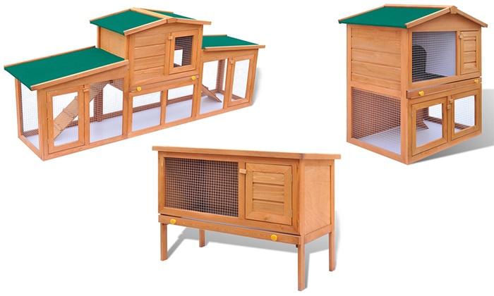 cage clapier en bois pour lapins groupon shopping. Black Bedroom Furniture Sets. Home Design Ideas