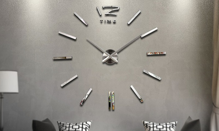 One or Two Large 3D Modern Frameless Wall Clocks