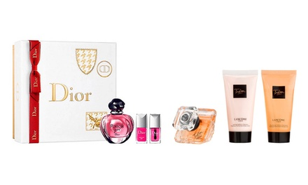 Cofanetto Eau de Parfum Lancôme o Christian Dior con smalti, shower gel e body lotion disponibili in diversi formati