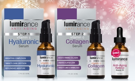 Lumirance Face-Lift Kit with Retinol Beauty Oil, Retinol Eye Cream, Overnight Mask, Pure Essential Oil, or Lash Serum