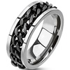 Titanium Men's Rings with Ion-Plated Chain