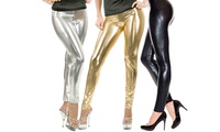 Women's Metallic Liquid Shine Leggings. Plus Sizes Available.