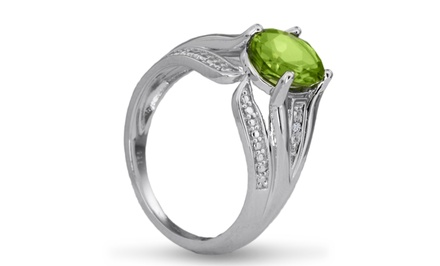 2.16 CTTW Peridot and Diamond Oval-Cut Split-Shank Ring in Sterling Silver