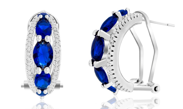 5.05 CTTW Sapphire, Emerald, or Ruby and Diamond Earrings: 5.05 CTTW Sapphire, Emerald, or Ruby and Diamond Earrings