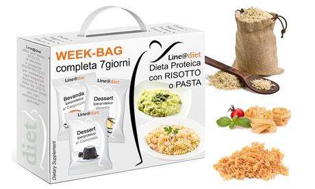 Fino a 9 kit per dieta iperproteica di 7 giorni con risotto e pasta, per ridurre l'assunzione di grassi e carboidrati