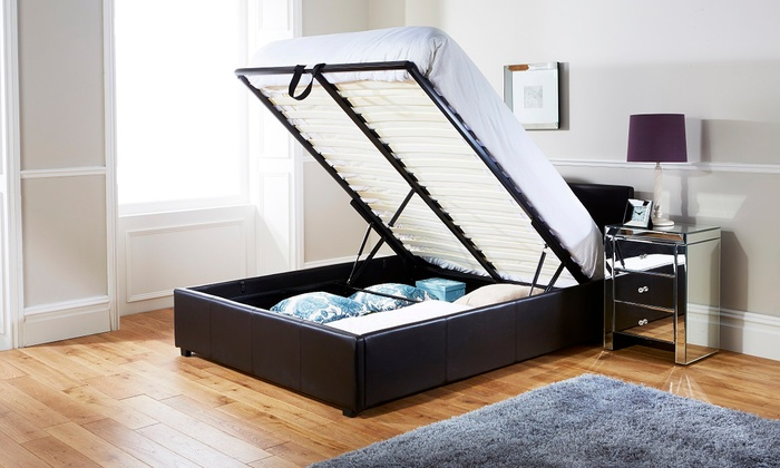 End-Lift Ottoman Storage Bed Frame with Optional Mattress