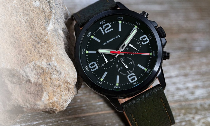 Morphic M86 Series Chronograph Genuine Leather Men's Watch With Free Delivery