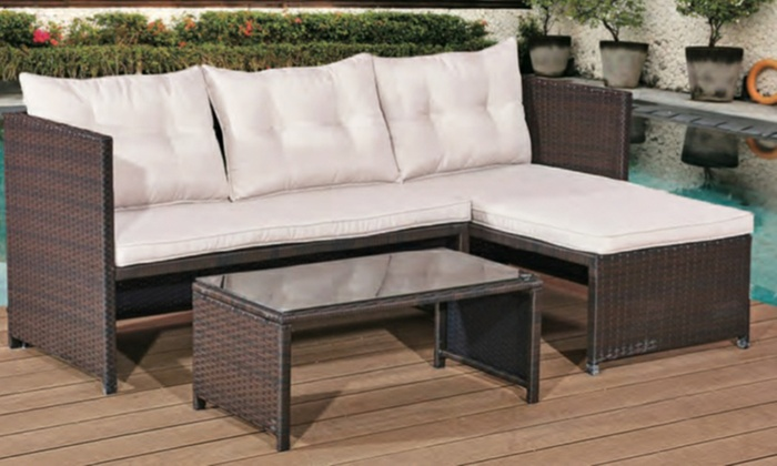 PE Rattan Garden Corner Sofa Set with Table from £229.99