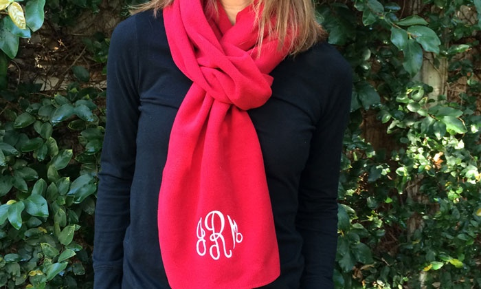Embellish Accessories and Gifts: Monogrammed Fleece Scarves from Embellish Accessories and Gifts (Up to 62% Off)