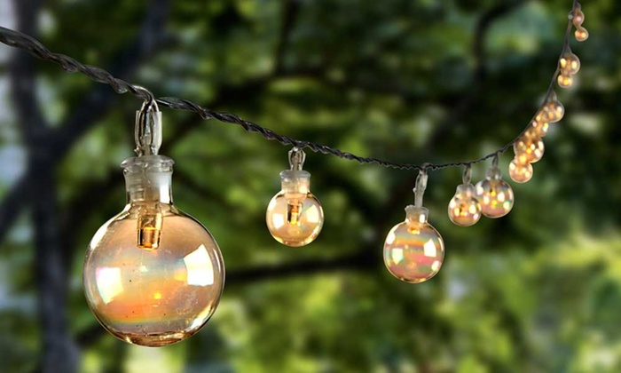 Solar Patio Lights String: Glass Bubble Solar String Lights