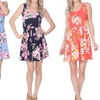Women's Flower-Print Crystal Dress