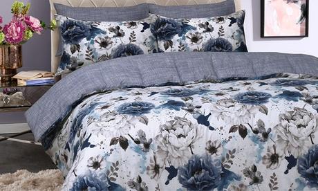 Juego de fundas nórdicas reversibles con estampado floral y 1 o 2 fundas de almohada Oferta en Groupon