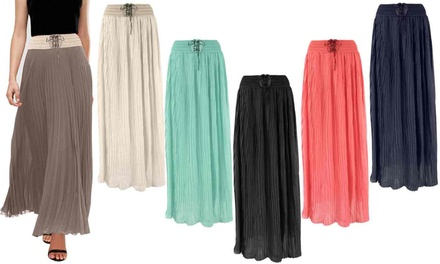 Pleated Chiffon Flared Maxi Skirt