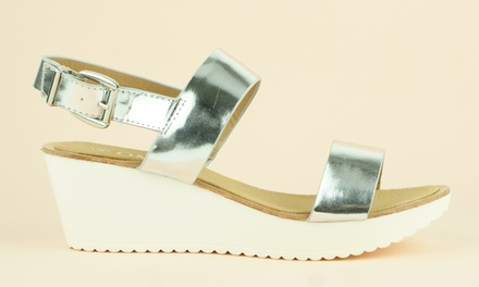 Women's Silver Wedge Sandals