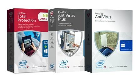 McAfee Antivirus voor 1 of 3 Pc voor duur van 1 jaar vanaf € 14,99 tot korting