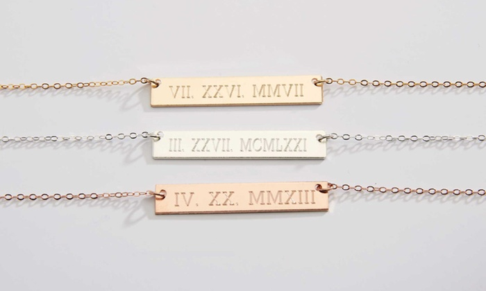 wedding necklace date x gold numeral with engraved nameplate filled roman