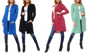 Isaac Liev Women's Extra-Long Cardigan with Front Pockets