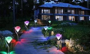 2 ou 4 lampes solaires LED diamant avec fonction changement de coloris